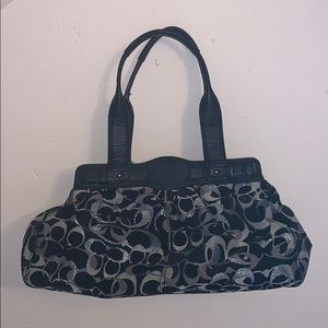 Coach bag black and silver